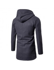 Autumn Winter Business Leisure Long Hooded Jacket Men's Casual Solid Color Wool Trench Coat