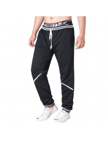 Men's Elastic Waist Drawstring Loose Casual Pants Comfort Stripe Waistline Sports Trousers