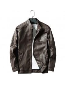 Men Zipper Dual Pockets Stand Collar Leather Jacket