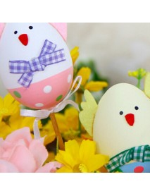 1Pcs Funny DIY Chick Design Plastic Coloring Painted Easter Egg With Stick For Easter Decorations