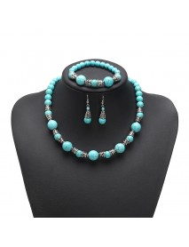 JASSY Platinum Plated Turquoise Beads Retro Ethnic Fine Jewelry Set Best Gifts for Women