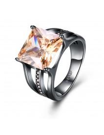 INALIS Elegant 12mm Gun Black Plated Zircon Rhinestone Diamond Rings Gift for Women