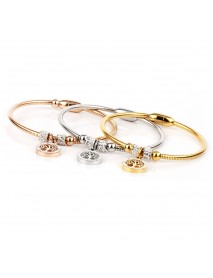 Classic Tree of Life Charm Bangle Bracelets Simple Rose Gold Silver Gemstone Women Cuff Bracelet
