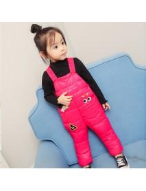 Cute Baby Kids Sleeveless Printed Cotton Padded Winter Jumpsuit