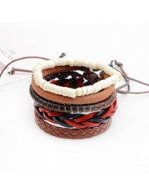 Retro Adjustable Leather Bracelet Wax Rope Multilayer Bead Chain for Men Women