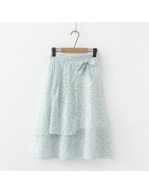 D1124-women's Season New Small Fresh High Waist With Small Floral Chiffon Skirt