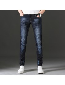 Fashion Jeans Men's Season New Elastic Youth Men's Casual Men's Slim Feet Trend Trousers