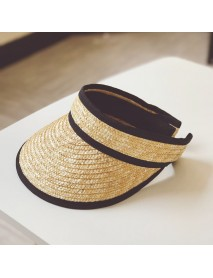 Empty Top Hat Female Lafite Grass Letter Topless Baseball Cap Season Sun Protection Holiday Sun Hat Straw Hat