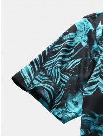 Men Fashion Casual Holiday Hawaii Leaf Print Turn-Down Collar Holiday Shirts