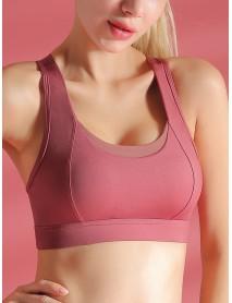 Double Layers Mesh Strappy Wireless Gather Shape Underwear Sports Bra