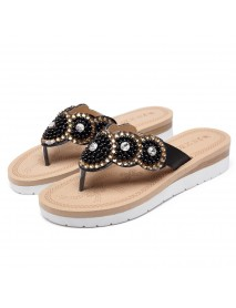 Bohemian Comfortable Casual Pearl Women Beach Slippers