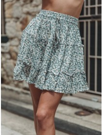 Floral Print High Waist Ruffle Holiday A-line Skirts