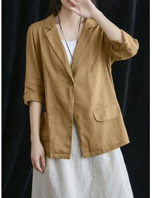 Women Cotton Turn Down Collar Blazers Solid Color Pocket Coats