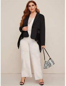Plus Size Women Turn-down Collar Lace Patchwork Black Suits Casual Coats