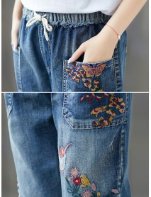 Casual Pocket Embroidered Harem Denim Pants for Women