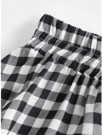 Casual Plaid High Elastic Waist Loose Skirts