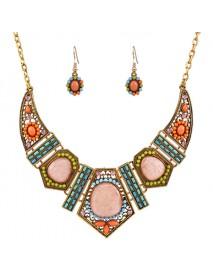 Bohemian Rhinestone Bib Necklace Multicolor Flower Earrings Geometric Beads for Women