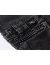 Hip-Hop Ripped Pants Knee Zipper Pocket Cotton Jeans