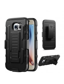 Bakeey 3 in 1 Armor Belt Clip kickstand Holder Soft TPU+Hard PC Case for Samsung Galaxy S6 Edge