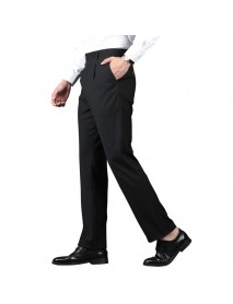 Men's Casual High Waist Loose Trousers Pure Color Straight Suit Pants