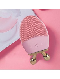 2 in 1 Ultrasonic Waterproof Silicone Face Cleanser Electric Facial Cleaning Brush Makeup & Blackhead Removal Face Lifting Machine