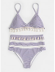 Bohemian Style High Rise Geometric Knitting Hollow Tassel Bikini