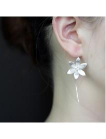925 Sterling Silver Vintage Ear Drop Earring Flower Dangle Earrings Ethnic Jeweley for Women