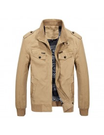 Autumn Winter Military Style Casual Cotton Cargo Jacket for Men