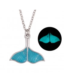 Fashion Luminous Blue Mermaid Fishtail Pendant Necklaces Unique Women's Necklace Party Jewelry