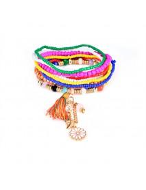 Bohemian Tassel Flower Leaf Pendant Multilayer Beads Bracelets for Women