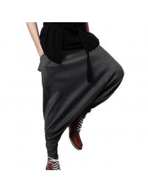 Men Casual Drape Drop Crotch Training Pants Harem Hip Hop Pants Baggy Trouser
