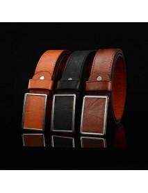 115cm Mens Business Casual Alloy Tablet Slide Buckle Waistband Strap Vogue Leather Belt