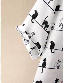 Cartoon Cat Print Round Neck Short Sleeved Button Casual T-shirts For Women