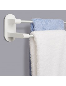 8H Towel Rack Holder WHITE 3M Tape Double Rod Storage