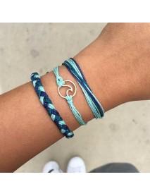 Bohemian Multilayer Bracelets A Set of Wax Rope Hollow Geometric Bracelet Ethnic jewelry