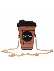 Women Cute Coffee Latte Handbag Messenger Shoulder Chain Totes Bag Purse For iphone X For SamsungS8