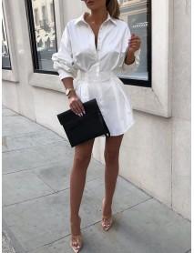 Women Solid Lapel Long Sleeves Tie Waist Casual Shirt Dress