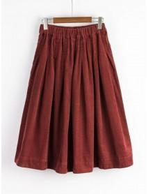 Mori Girl Pure Color Elastic Waist Side Pocket Corduroy Skirt