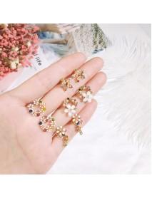 925 Sterling Silver Shell Flower Women Drop Earring Fashion Colorful Rhinestone Star Stud Earrings