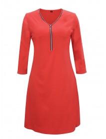 3/4 Sleeve Zipper Long Sleeve V-neck Causal Dress
