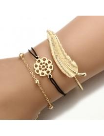 3Pcs Trendy Bracelet Sets Feather Heart Gold Bangle Open-end Charming Bracelets for Women