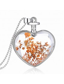 Sweet Natural Dried Flower Inside Necklace Crystal Heart Pendant for Women Best Gift