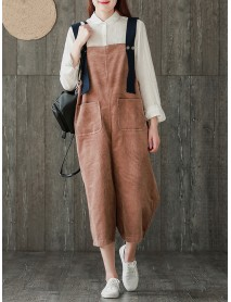 Casual Women Corduroy Pockets Playsuits