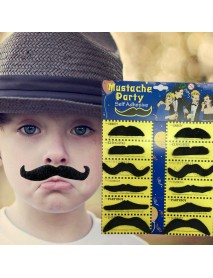 12Pcs Halloween Fake Self-Adhesive Stick-On Mustache Decorations Disguise Novelty Toys Set