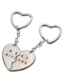 1 Pair Love Heart Couple Alloy Keychain Best Bitches Gift