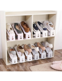 Creative Plain Double-deck Adjustable Shoe Racks Dust Proof Shoe Rack Household Receive Simple Shoes Bracket