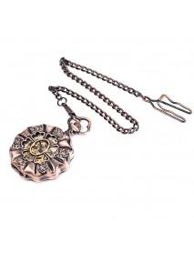 JIJIA JX013 Six Petals Hollow Alloy Chic Mechanical Pocket Watch