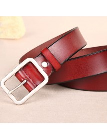 110CM Women Second Layer Leather Belt Pin Buckle Trousers Strap Casual Waistband for Jeans Cowboy
