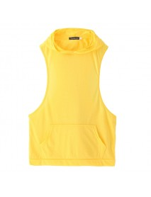 Stylish Men's Hooded Sleeveless Loose Vest Solid Color Fitness Tank Tops