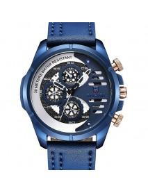 BAGARI 1802P Fashion Men Watch 3ATM Waterproof Week Display Leather Strap Quartz Watch